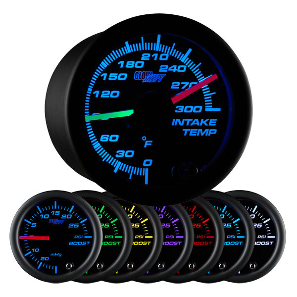 Black 7 Color Dual Intake Temperature Gauge
