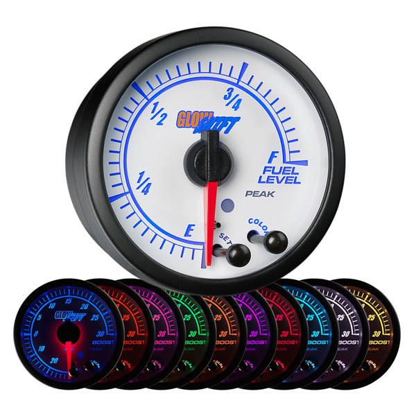 White Elite 10 Color Fuel Level Gauge