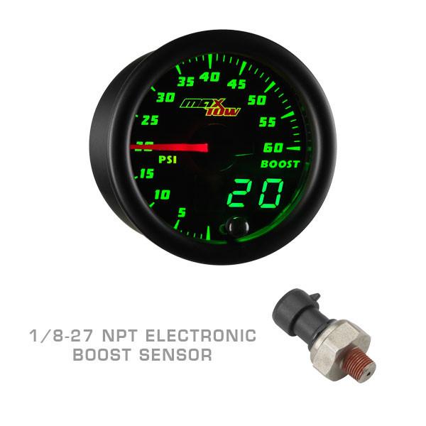 Black & Green MaxTow 60 PSI Boost Gauge with 1/8-27 NPT Electronic Pressure Sensor