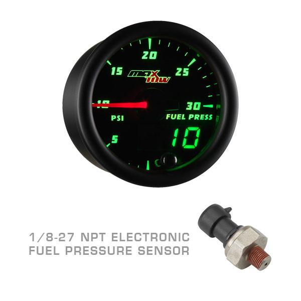 Black & Green MaxTow 30 PSI Fuel Pressure Gauge with 1/8-27 NPT Electronic Pressure Sensor