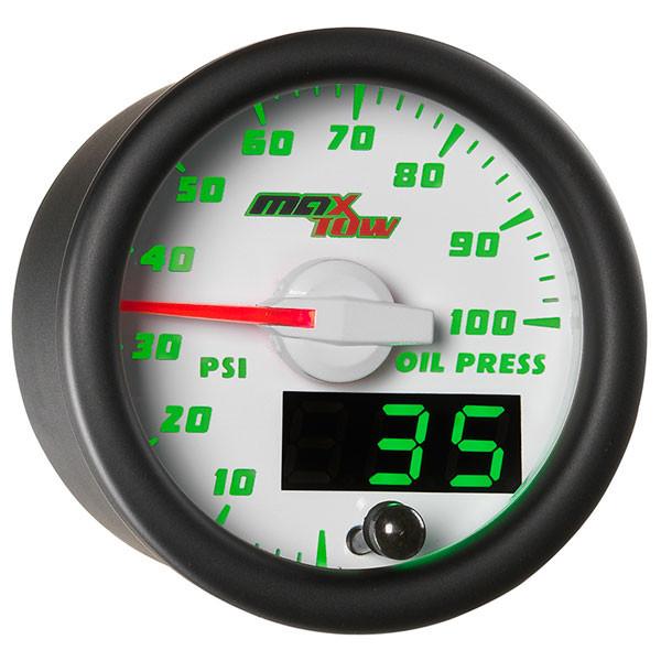 White & Green MaxTow Oil Pressure Gauge