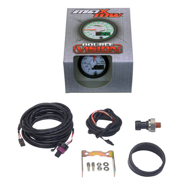 White & Green MaxTow Oil Pressure Gauge Unboxed