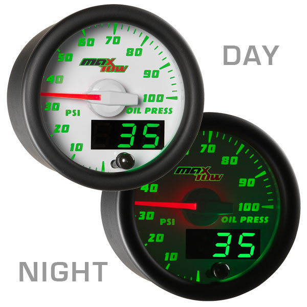 White & Green MaxTow Oil Pressure Gauge Day/Night View