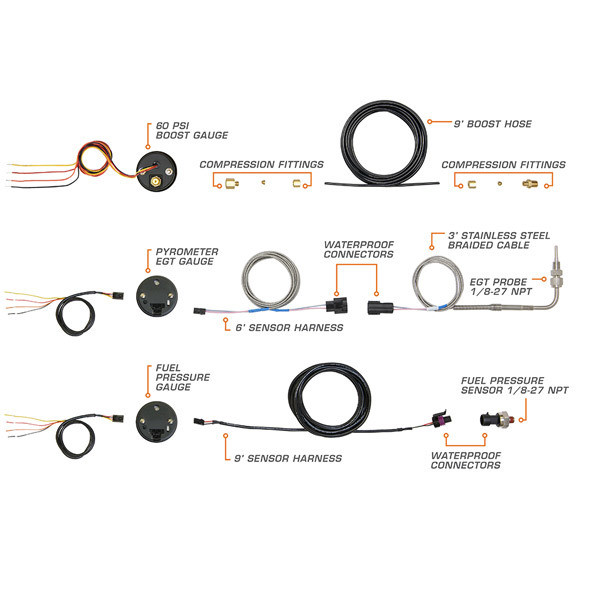 Wiring Schematic with Boost, Exhaust Gas Temperature & Transmission Temperature