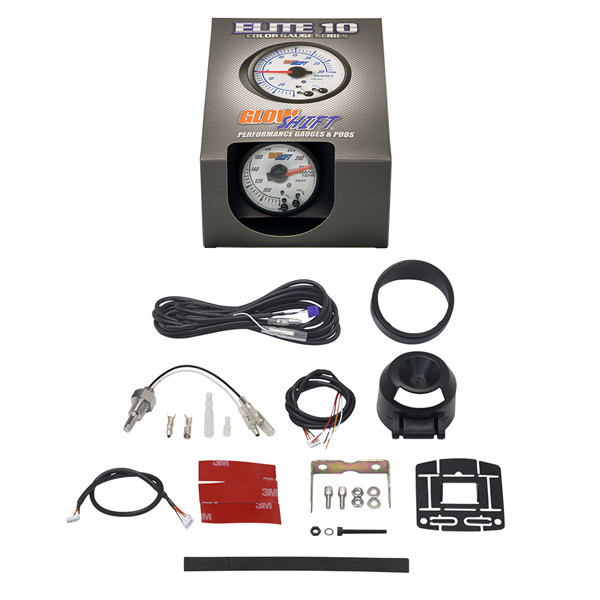 GlowShift White Elite 10 Color Transmission Temperature Gauge Unboxed