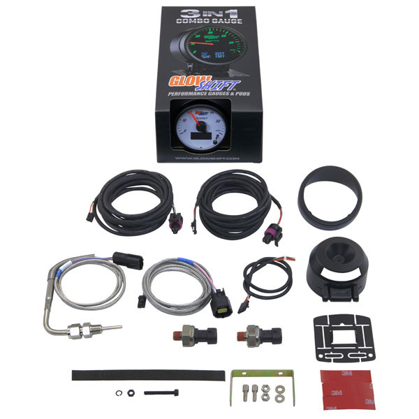GlowShift 3in1 White Face Boost w/ Digital EGT & Pressure Gauge Unboxed