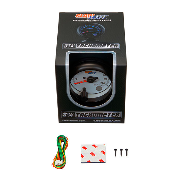 "GlowShift White 7 Color 3 3/4"" Tachometer Gauge with Shift Light Unboxed"