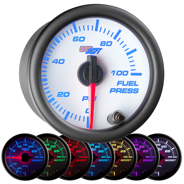 White 7 Color 100 PSI Fuel Pressure Gauge