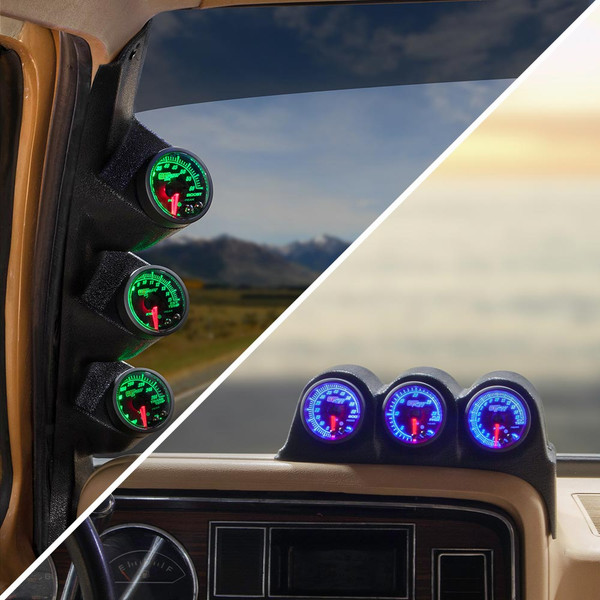 Elite 10 Color Series Triple Gauge Package for 1986-1993 Dodge Ram Cummins Installed