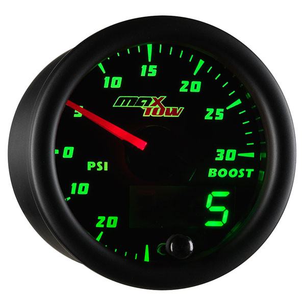 Black & Green MaxTow 30 PSI Boost/Vacuum Gauge
