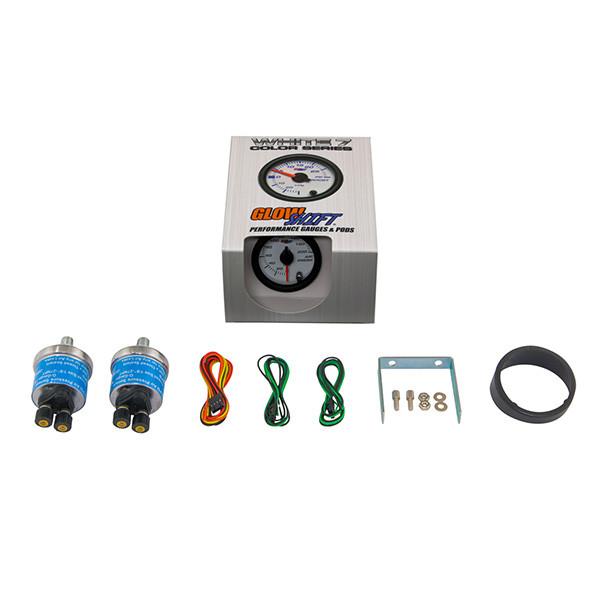 White 7 Color Dual Needle 200 PSI Air Suspension Gauge
