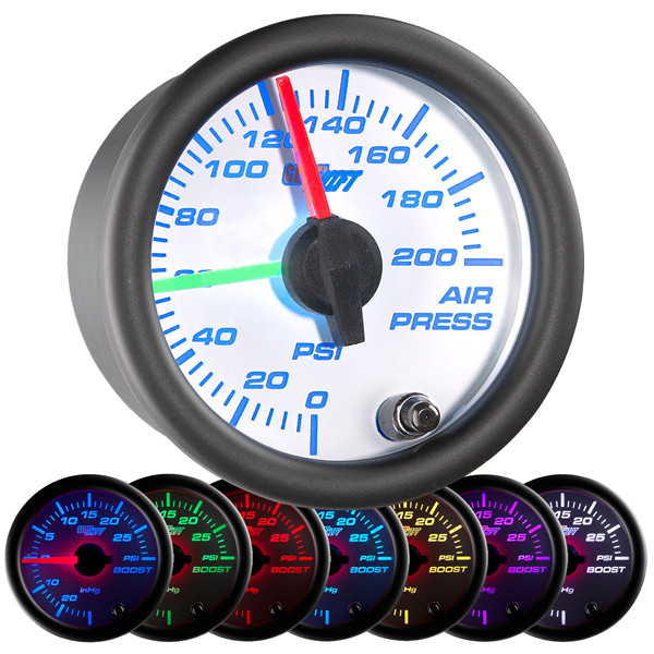 White 7 Color Dual Needle Air Pressure Gauge