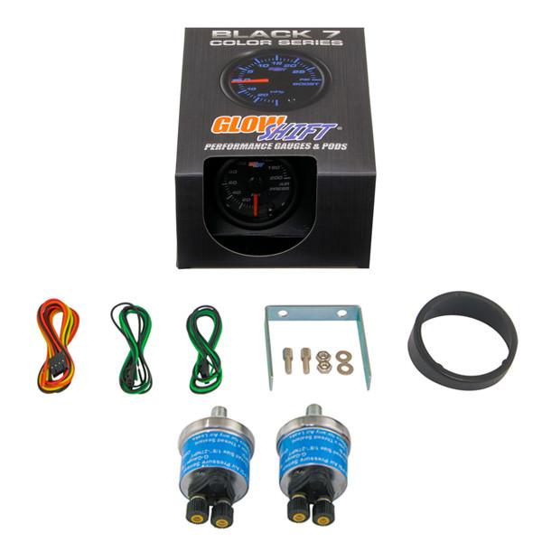 GlowShift Black 7 Color Dual Needle Air Suspension Gauge Unboxed