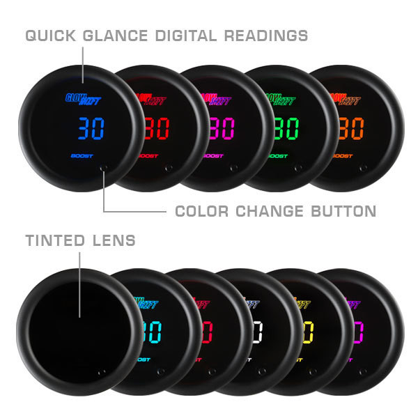 Included Colors with 10 Color Digital Gauge Series - Blue, Green, Red, Yellow, White, Teal, Purple, Pink, Orange, and Amber
