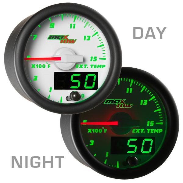 White & Green MaxTow 1500° F EGT Gauge Day/Night View