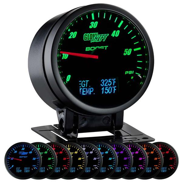 3in1 Black Analog 60 PSI Boost w/ Digital EGT & Temperature Gauge