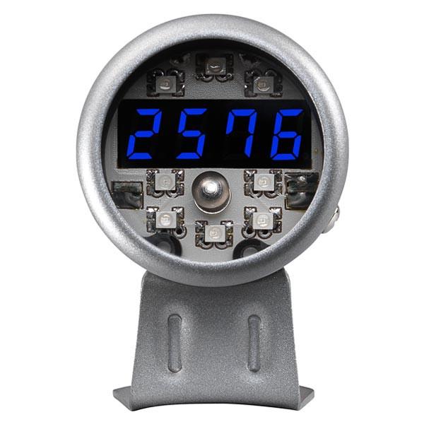 Silver Digital Tachometer & Blue LED Shift Light Straight View