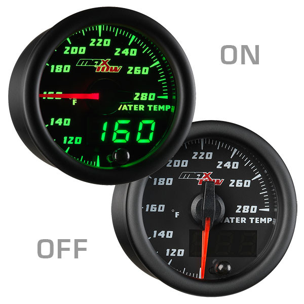 Black & Green MaxTow Water Coolant Temperature Gauge On/ Off View