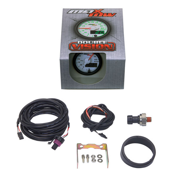 White & Green MaxTow 60 PSI Boost Gauge Unboxed