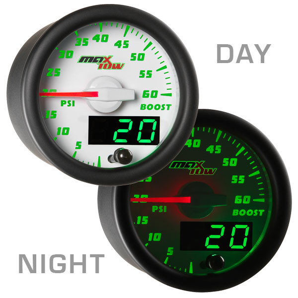 White & Green MaxTow 60 PSI Diesel Boost Gauge Day/Night View