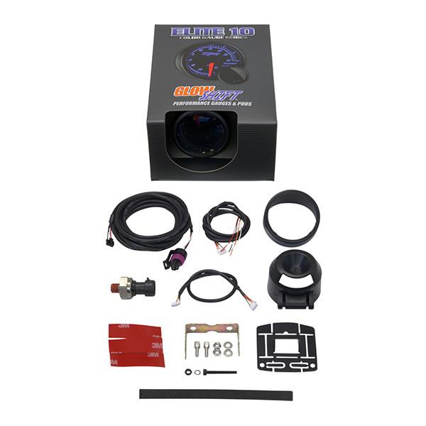 GlowShift Elite 10 Color 1600 PSI Nitrous Pressure Gauge Unboxed