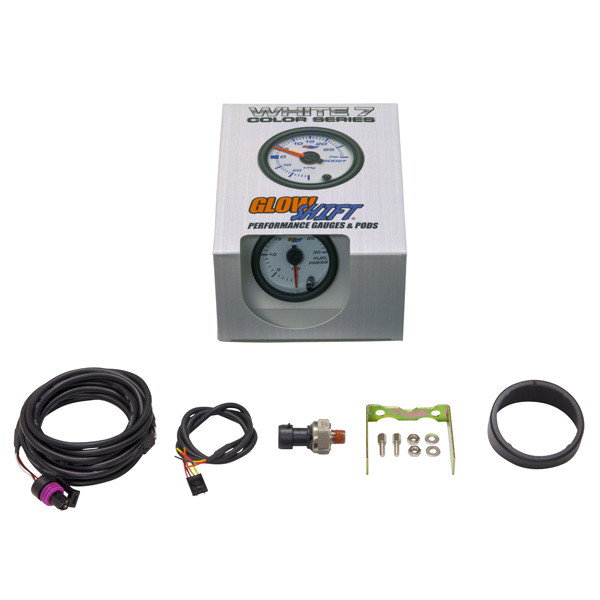 GlowShift White 7 Color 30 PSI Fuel Pressure Gauge Unboxed