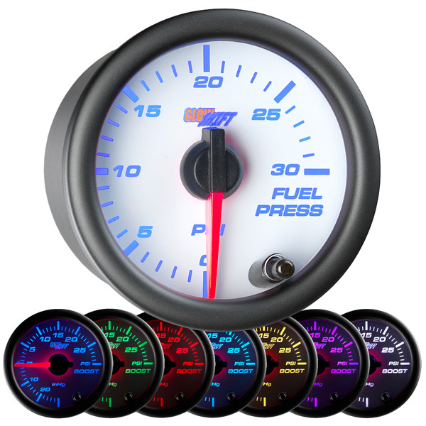 White 7 Color 30 PSI Fuel Pressure Gauge