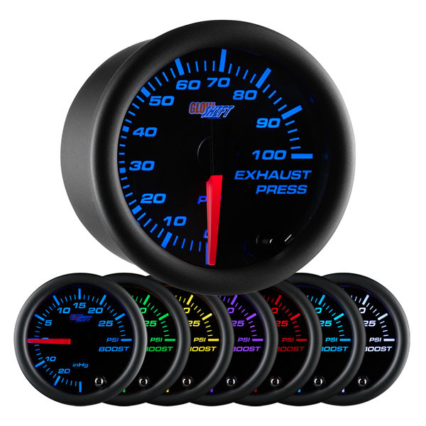 Black 7 Color 100 PSI Exhaust Pressure Gauge