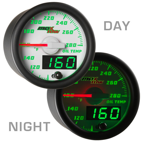 White & Green MaxTow Oil Temperature Gauge Day/Night View