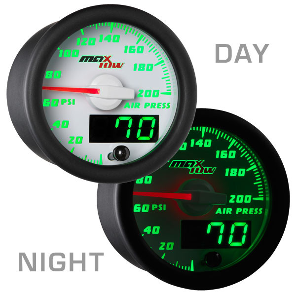White & Green MaxTow Air Pressure Gauge Day/Night View