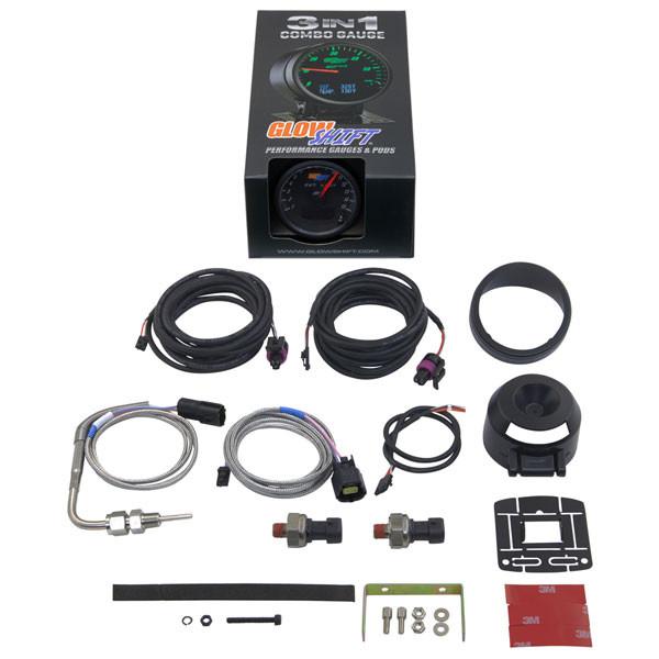GlowShift 3in1 Black Face EGT w/ Digital Boost & Pressure Gauge Unboxed