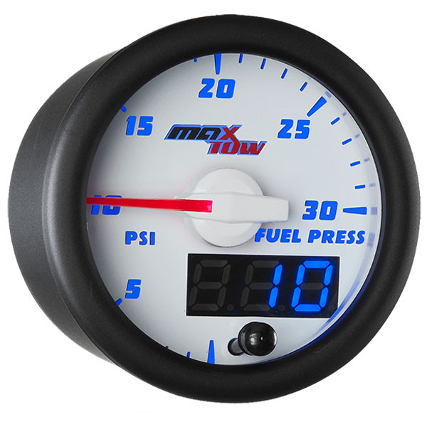 White & Blue MaxTow 30 PSI Fuel Pressure Gauge