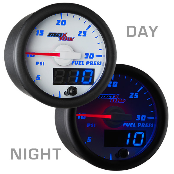 White & Blue MaxTow 30 PSI Fuel Pressure Gauge Day/Night View