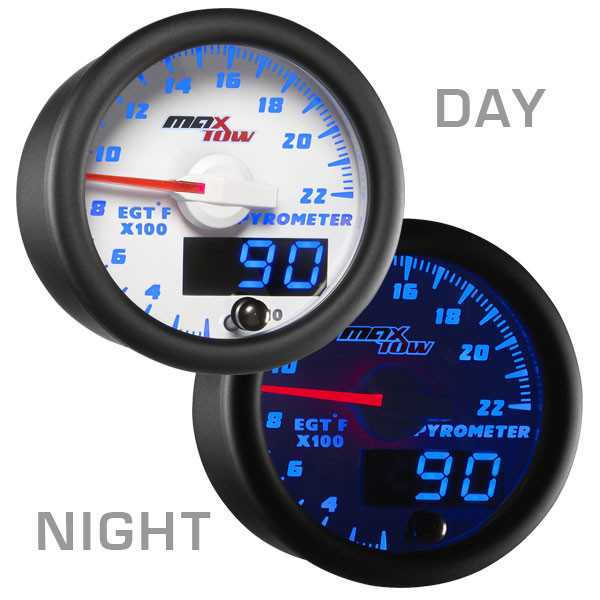 White & Blue MaxTow 2200 Degree Exhaust Gas Temperature Gauge Day/Night View