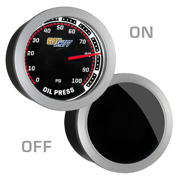 GlowShift Tinted Oil Pressure Gauge On/Off View