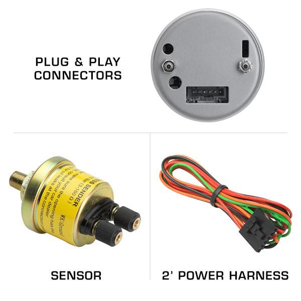Included Sensor & Harness with Oil Pressure Gauge