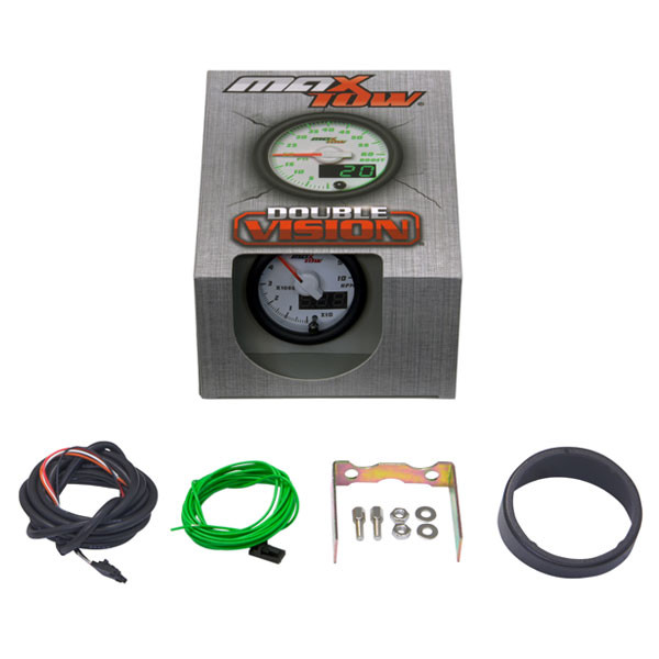 "White & Green MaxTow 2"" Tachometer Gauge Unboxed"