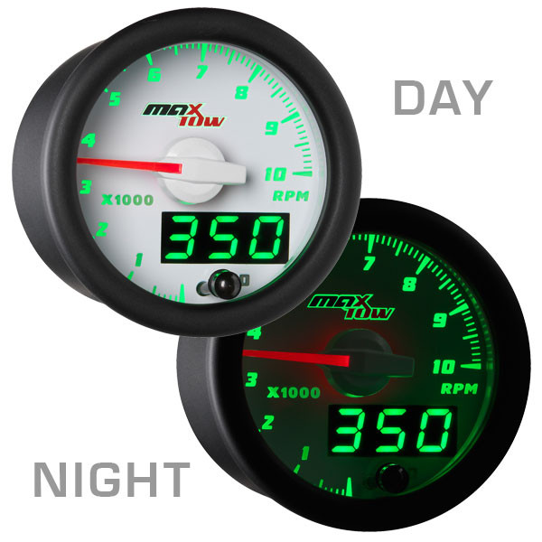 White & Green MaxTow 10,000 RPM Tachometer Gauge Day/Night View