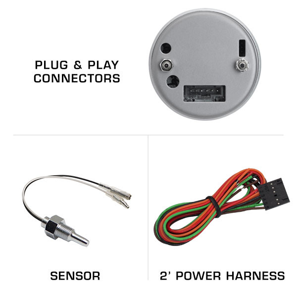 Included Sensor & Harness with Tinted Water Temperature Gauge
