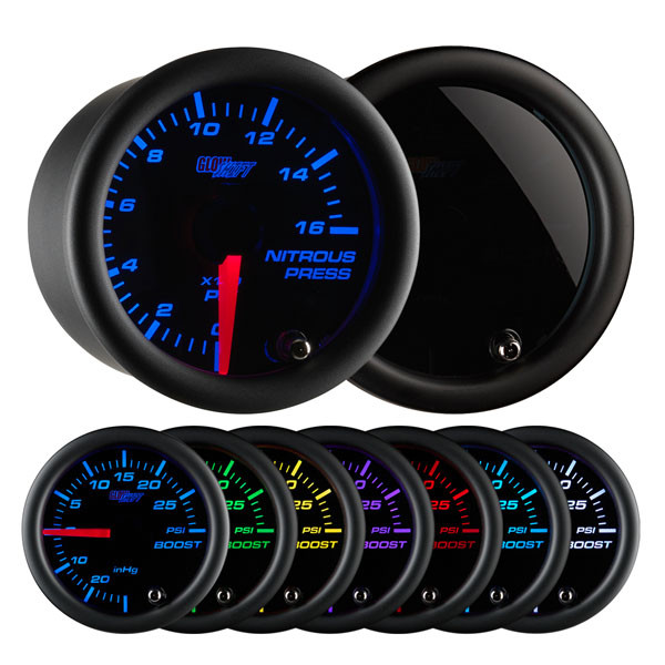 Tinted 7 Color 1600 PSI Nitrous Pressure Gauge