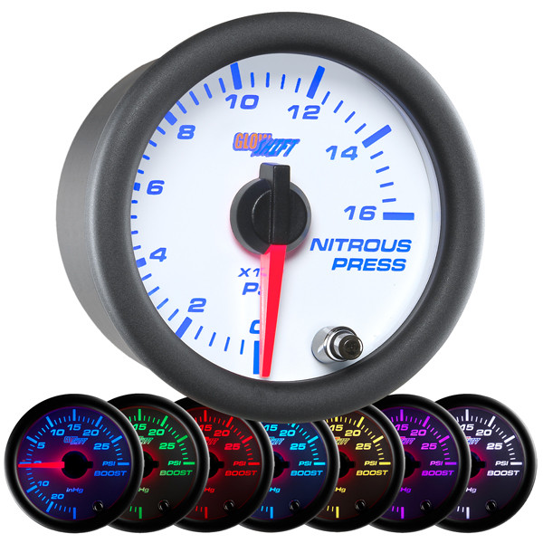 White 7 Color 1600 PSI Nitrous Pressure Gauge