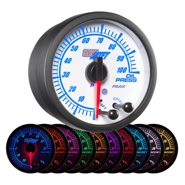 White Elite 10 Color Oil Pressure Gauge