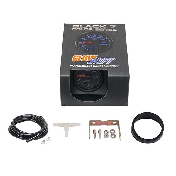 GlowShift Black 7 Color 30 PSI Boost/Vacuum Gauge Unboxed