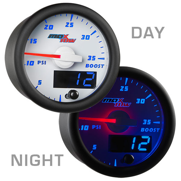 White & Blue MaxTow 35 PSI Boost Gauge Day/Night View