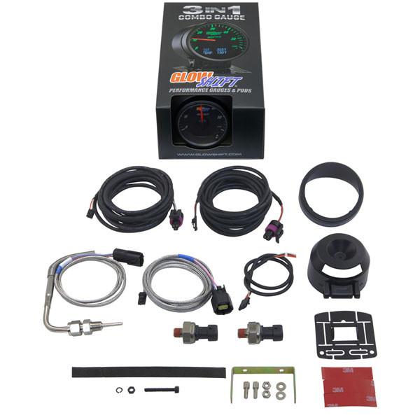 GlowShift 3in1 Black Face Boost w/ Digital EGT & Pressure Gauge Unboxed