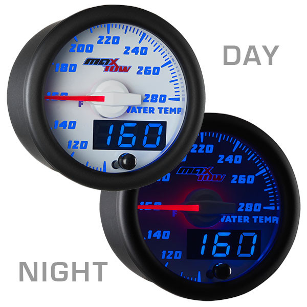 White & Blue MaxTow Water Coolant Temperature Gauge Day/Night View