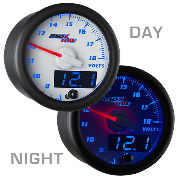 White & Blue MaxTow Voltmeter Gauge Day/Night View
