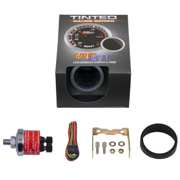 GlowShift Tinted 30 PSI Fuel Pressure Gauge Unboxed