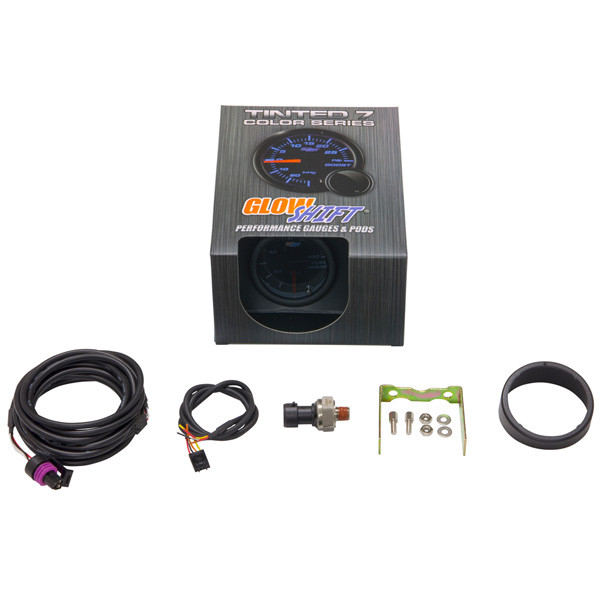 GlowShift Tinted 7 Color 100 PSI Fuel Pressure Gauge Unboxed