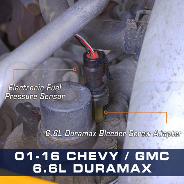 Chevrolet GM Duramax 6.6L Diesel Fuel Pressure Thread Adapter Installed